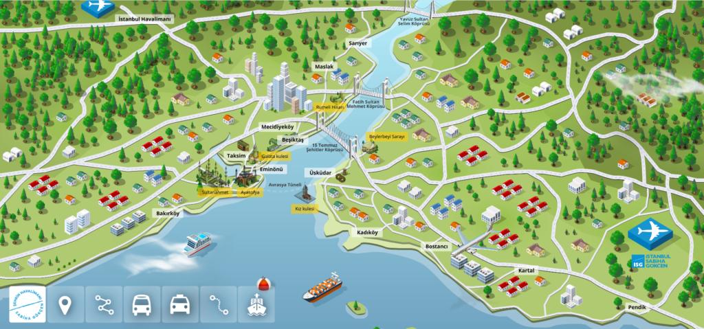 Sabiha Gökçe Hava Alanı Ulaşım Haritası